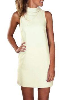 BSTBUWIN Women's Pencil Loose Solid Sleeveless Casual High Neck Short Dress