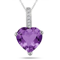 2.70 Carat Amethyst Heart and Diamond Pendant in 10K White Gold