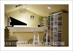 attic craft room ideas | Genius paper storage in an attic craft space