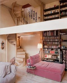 8acd52d7f81 Love the spiral staircase and rose velvet chaise lounge ♥