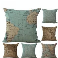 "* TOP SELLER! Vintage 18"" Square Map Pillow Covers (Different Styles Available) *   Pattern: Printed Material: Cotton/ Linen Removable & Washable Size: 45cm X 45cm   Limited Time Only This item is NOT available in stores.  Guaranteed safe checkout: AMAZON 