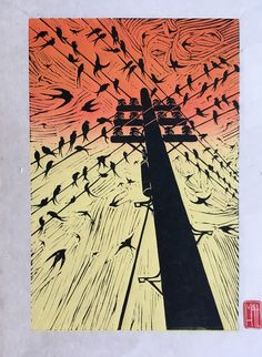 Calling Home - Swallows on Telephone Lines. by HuPaLinocuts on Etsy Telephone Drawing, Telephone Line, Summer Homework, Wire Drawing, Bokashi, Summer Sky, Swallows, Lino Cuts, Linocut Prints
