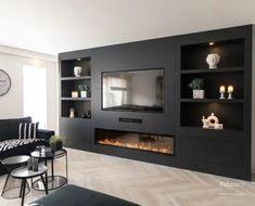 Living Room Wall Units, Living Room Tv Unit Designs, Living Room Decor, Living Rooms, Wall Units With Fireplace, Living Room With Fireplace, Bistro Decor, Snug Room, Tv Wall Design
