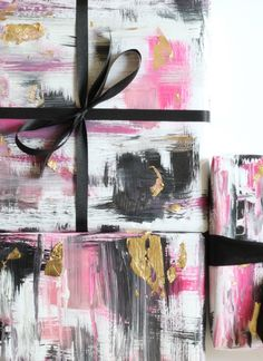 DIY Abstract Gift Wrap for the #holiday #christmas