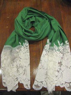 27 Useful Fashionable DIY Ideas, DIY lace scarf écharpe dentelle Diy Kleidung, Diy Vetement, Diy Mode, Do It Yourself Fashion, Lace Scarf, Diy Scarf, Scarf Knit, Scarf Dress, Scarf Crochet