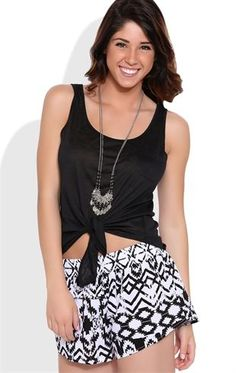 Deb Shops High Low Tank Top with Tie Front and Pocket $9.75