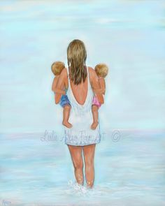 Mother Daughter Son Twins Art Print Big by LeslieAllenFineArt