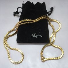 Stunning Vintage Gold Tone Signed Napier Snake Chain. Long Length.