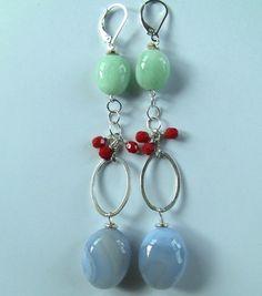 Blue Chalcedony earrings, Amazonite earrings, sterling silver earrings, big earrings, color pop earrings, Christmas gift. on Etsy, $38.00