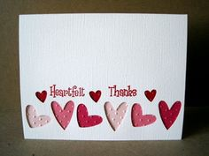 """I decided to take my tri-heart Stampin Up punch and see what I could make with it. My daughter said that my cards looked very """"Valentine Da..."""