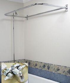 "Clawfoot Tub Add On Shower Includes 54"" D-Shower Rod YouRemodel http://www.amazon.com/dp/B003VT4TV8/ref=cm_sw_r_pi_dp_aBB6vb0ZP6FDW"