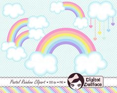 Pastel Rainbow Clip Art Clouds Clipart Spring by DigitalDollface