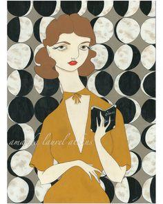"""The waxing and waning of you""  acrylic on masonite c Amanda Laurel Atkins 2011"