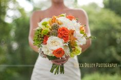 elegant orange and green bouquet by beccadilley, via Flickr
