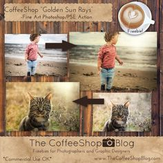 Freebies and Tutorials for Photographers and Digital Designers for Photoshop, Photoshop Elements, and Lightroom. Photoshop For Photographers, Photoshop Photography, Photoshop Elements Actions, Photo Editing Tools, Editing Photos, Golden Sun, Free Photoshop, Coffee Shop, Sun Rays