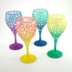 Teardrop Wine Glasses  River Rocks Etched  by woodeyeglass, $90.00..  I will own these!