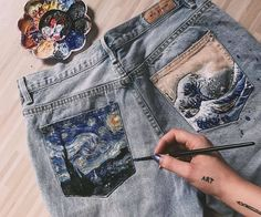 27 Painted Clothes Diy Aesthetic Ideas Painted Clothes Art Clothes Painted Jeans