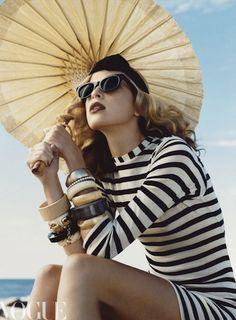 Vogue   summer stripes   fashion photography