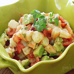 Zesty Lime Shrimp and Avocado Salad. Delicious, but a tiny bit less lime juice and a second jalapeno.