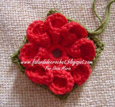 """Floral  motif """"FALANDO DE CROCHET"""": QUADRADINHO DE CROCHE FLOR CONE II (CROCHET SQUARE)"""