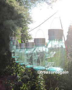 Mason Jar Solar Lights RESERVED, the Original Hanging Mason Jar Solar Light by treasureagain on Etsy, $113.00