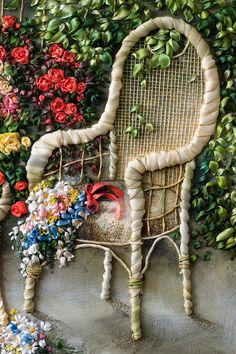 Wonderful Ribbon Embroidery Flowers by Hand Ideas. Enchanting Ribbon Embroidery Flowers by Hand Ideas. Embroidery Designs, Types Of Embroidery, Silk Ribbon Embroidery, Embroidery Applique, Cross Stitch Embroidery, Embroidery Thread, Embroidery Bracelets, Cross Stitches, Ribbon Art