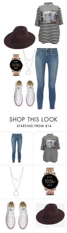 """""""Untitled #190"""" by alexisxxr ❤ liked on Polyvore featuring Frame Denim, M.Y.O.B., Botkier, FOSSIL and Converse"""