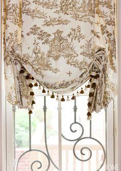 "Robert Allen Fabric - Roman shades (""Toile du Mandarin""/Taupe #90538): Hines & Co., 202/484-8200."
