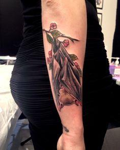 Bat tattoo Done in Schaan Tattoo convention by Sandi Dream Tattoos, Body Art Tattoos, New Tattoos, I Tattoo, Sleeve Tattoos, Left Arm Tattoos, Skeleton Tattoos, Neo Traditional Tattoo, Animal Tattoos