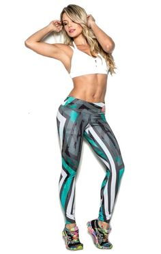 Aqua and Black Aztec Stripes Leggings - Lycross Best Yoga Clothes, Workout Clothes Cheap, Workout Clothing, Cycling Clothing, Athletic Outfits, Athletic Wear, Athletic Clothes, Workout Attire, Workout Wear