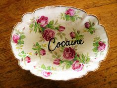 Cocaine hand painted vintage china dish with by trixiedelicious