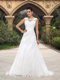 Gorgeous Beaded Lace Appliques Bateau Neck Ruched A-Line Zip-up Wedding Dress Wedding Dresses 2015- ericdress.com 11173123