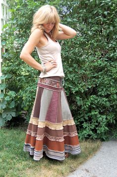 Eco long boho SKIRT, clothing, upcycled,  patchwork, repurposed jersey, brown mix, festival,size S/M, by Zasra