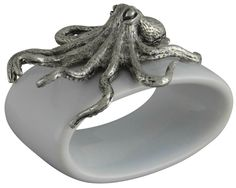 Octopus Stoneware Napkin Ring set the table with shore side spirit at your beach house or marine theme party.