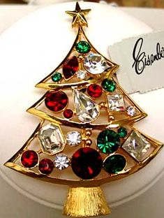 """Eisenberg Larger goldtone Christmas Tree Pin in Green, Red and Clear Rhinestones - 3 1/8"""" x 2 1/4"""" , large paste set stones. Z"""