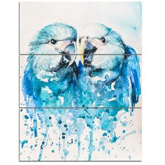 DesignArt 'Spix's Macaw Watercolor' 3 Piece Painting Print on Wrapped Canvas Set