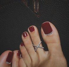 – The Best Nail Designs – Nail Polish Colors & Trends Toe Nail Color, Toe Nail Art, Nail Polish Colors, Red Polish, Wedding Toe Nails, Wedding Toes, Pretty Toe Nails, Pretty Toes, Toe Nails Red