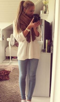 sweater white scarf jeggings cute shoes boots