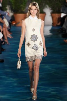 embroidery on #retrodress {Tory Burch #Spring2014 Ready-to-Wear Collection} #nyfw