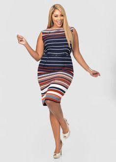 ebedaf77 Belted Striped Sheath Dress. Fashionable Plus Size ClothingTrendy ...