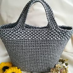 """New Cheap Bags. The location where building and construction meets style, beaded crochet is the act of using beads to decorate crocheted products. """"Crochet"""" is derived fro Crochet Sole, Love Crochet, Bead Crochet, Crochet Crafts, Diy Crafts, Crochet Handbags, Crochet Purses, Mochila Crochet, Crochet Market Bag"""