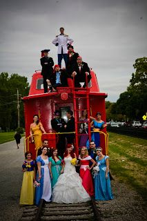 This is ridiculous, but I kinda love it!  For this Little Mermaid-themed wedding, the bride and groom dressed up as Princess Ariel and Prince Eric. And the bridesmaids outfits? The other Disney princesses, naturally!