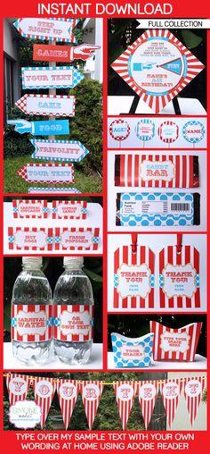 Circus Carnival Party Printables - Red Aqua