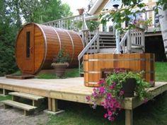 I Want this Sauna on my back deck ! Cedar Barrel Sauna - Cedar Saunas, DIY Sauna Kits, Indoor & Outdoor Saunas: Choose A Cedar Barrel Sauna For Your Backyard Outdoor Sauna, Outdoor Baths, Indoor Outdoor, Outdoor Decor, Indoor Pools, Diy Sauna, Jacuzzi, Homemade Sauna, Electric Sauna Heater