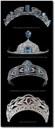 Ruby Earrings Tiaras - Tiara Cartier London Tiara, 1937 Platinum, round old-cut diamonds, oval and fancy-cut aquamarines The central motif can be removed Royal Crowns, Royal Tiaras, Tiaras And Crowns, Royal Jewelry, Bling Jewelry, Jewelery, Jewelry Accessories, Antique Jewelry, Vintage Jewelry