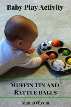 Place rattle balls in a muffin tin for a simple baby play activity that encourages hand-eye coordination (including reaching and grasping), strengthening, and motor planning for babies who can push up and roll but can't yet crawl. Baby Sensory Play, Baby Play, Baby Toys, Infant Activities, Activities For Kids, Baby Tummy Time, Infant Classroom, Montessori Baby, Montessori Bedroom