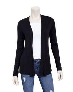 Black Ladies Cover Up Long Sleeve Cardigan