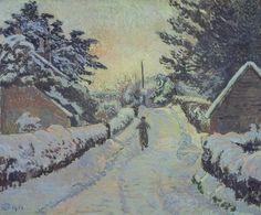 Lucien Pissarro: Ivy Cottage, Coldharbour: Sun and Snow, 1916.