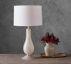 Piper Swirl Glass Candlestick Lamp #potterybarn