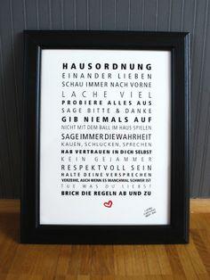 Originaldruck - Hausordnung - Das Original von Formart - ein Designerstück von Formart-Zeit-fuer-schoenes bei DaWanda